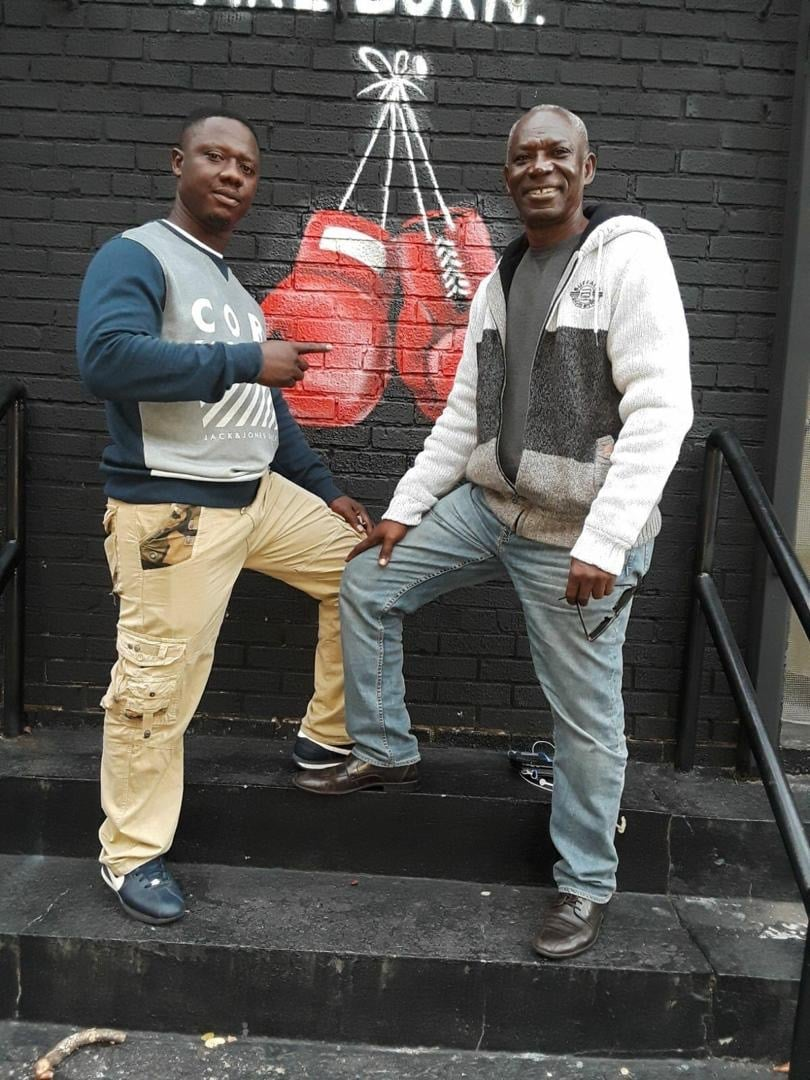Boham (right) with Ghana Boxing Club Founder & lead trainer, Lawrence Carl Lokko